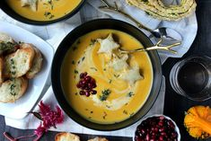 Dinner for Two: Creamy Butternut Squash Soup w/ Broiled Fontina Toasts - Wry Toast Fall Recipes, Soup Recipes, Healthy Recipes, Healthy Food, Roasted Butternut Squash Soup, Dinner For Two, Dinner Ideas, Easy Cooking, The Fresh