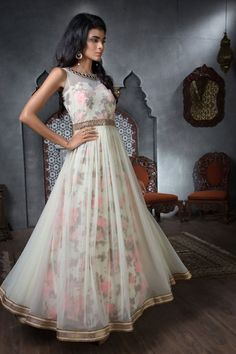 Embrace the high voltage exuberant hues of summer with this trendy Anarkali suit. Buy Anarkali Suits online - http://www.aishwaryadesignstudio.com/floral-print-hued-floor-length-anarkali