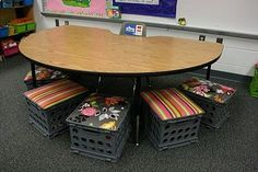 Milk crate stools for the classroom!