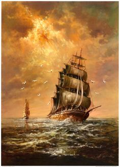 Stormy Weather by Helmut Glassl Weather Art, Bateau Pirate, Old Sailing Ships, Sailing Boat, Ship Drawing, Ship Paintings, Wooden Ship, Sail Away, Tall Ships