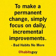 To make a permanent change, simply focus on the daily, incremental improvements. S.J. Scott - Author #quote #pesonaldevelopmentquote