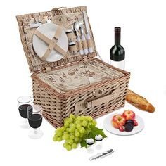 Amazon.com : Wicker Picnic Basket Set | 2 Person Deluxe Vintage Style Woven Willow Picnic Hamper | Built-in Cooler | Ceramic Plates, Stainless Steel Silverware, Wine Glasses, S/P Shakers, Bottle Opener (Natural) : Garden & Outdoor Vintage Style, Vintage Fashion, Wicker Picnic Basket, 3d Fashion, Natural Garden, House Interiors, Outdoor Recreation, Ceramic Plates, Picnics