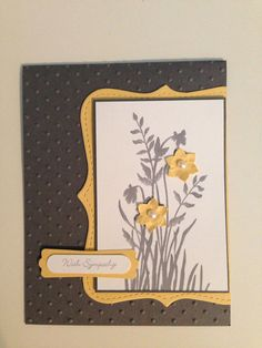 Stampin Up Sympathy Card, Gray and Yellow.