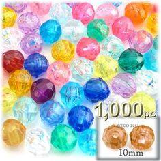 Plastic Faceted Beads, Round Transparent, 10mm, 1000-pc, Multi Mix