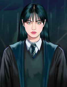 Harry Potter Artwork, Harry Potter Fan Art, Harry Potter Characters, Slytherin Aesthetic, Harry Potter Aesthetic, Girl Artist, Vintage Cartoon, Cute Icons, Girl Cartoon