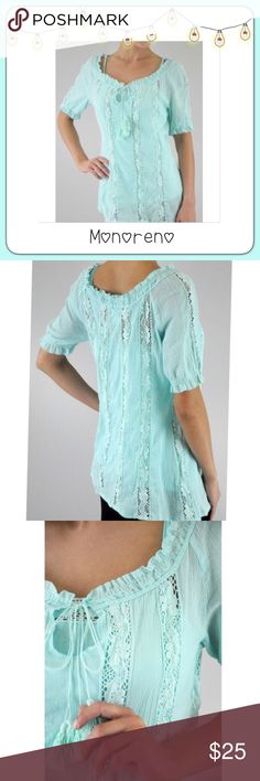 BOGO 1/2 OFF Monoreno Boho Woven Lace Top Add a nice pop of color to your wardrobe with this super cute turquoise boutique boho short sleeve woven lace top...tie with tassels at the top...100% cotton Brand: Monoreno Size: S, M & L Measurements: to come Condition: brand new Monoreno Tops Tunics