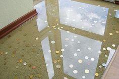 Piso de Porcelanato Liquido Epoxi ou 3D com moedas