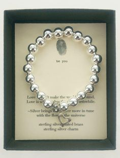 Love bracelet with smooth shiny silver beads and sterling silver heart charm. Designed in Italy by Mary Steratore, the creator of b. jewelry, and handmade in the USA. Silver Charms, Silver Beads, Silver Jewelry, Silver Ring, Love Bracelets, Silver Bracelets, Jewelry Bracelets, Mother Jewelry, Jewelry Quotes