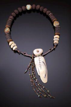 Necklace | Chris Carlson. 'Healing Spirit'.  Fossil walrus, Mali stones, lava