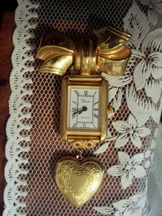 Vintage Gold Engraved Heart Locket Watch Brooch Pin via FaerylureCouture