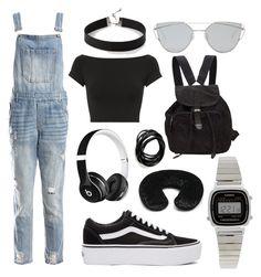 """Outfit 56"" by caroline-gueran on Polyvore featuring mode, Helmut Lang, Sans Souci, Vans, Express, Prada, Gentle Monster, Casio, Forever 21 et Beats by Dr. Dre"