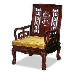 Rosewood Imperial Dragon Motif Arm Chair