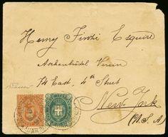 """lotto 1152 - Destinazioni - USA, New York/Massaua - busta da Massaua (Mar Rosso) a New York del 3.6.1891 con Umberto I c.20+5 n.105+110, BD - Sassone n.39+44 - ann. a cerchio """"Massaua Mar Rosso 3 Giu. 91"""" - bollo di arrivo al verso"""