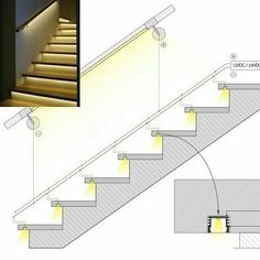 Stair lighting details with led tape. Stair lighting d Stair Railing Design, Home Stairs Design, House Design, Stair Handrail, Small Space Interior Design, Home Interior Design, Luxury Interior, Blitz Design, Stairway Lighting