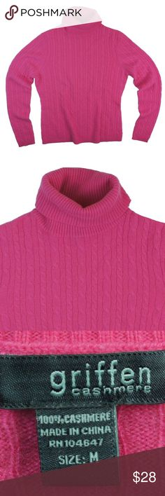 "GRIFFEN 100% Cashmere Pink Cableknit Sweater Excellent condition! This pink cable knit cashmere sweater from GRIFFEN features a turtle neckline. Made of 100% cashmere. Measures: Bust: 36"", total length: 23"", Sleeves: 25"" Griffen Sweaters Cowl & Turtlenecks"