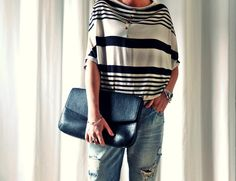 streetstyle fashion - striped top and boyfriend jeans, worn by my twin sister