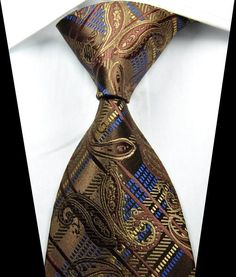 New Paisley Stripes Coffee Blue JACQUARD WOVEN 100% Silk Men's Tie Necktie #DesignerBrand #NeckTie