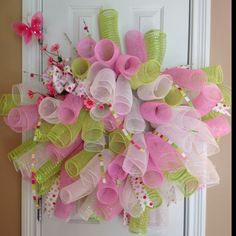 Pink green whirly deco mesh wreath