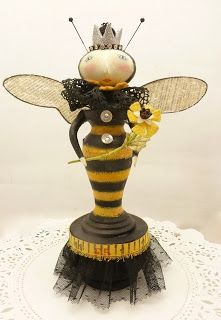 ≗ The Bee's Reverie ≗ bee art doll Bee Crafts, Arts And Crafts, Paper Dolls, Art Dolls, I Love Bees, Shrink Art, Bee Art, Found Object Art, Junk Art