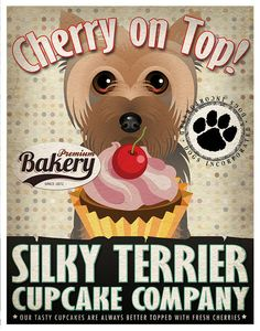 Silky Terrier Cupcake Company Original Art Print - Custom Dog Breed Print -11x14- Customize with Your Dog's Name - Dogs Incorporated
