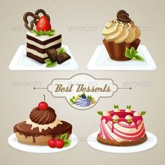 Buy Sweets Cakes Dessert Set by macrovector on GraphicRiver. Decorative sweets desserts set with shortcrust sponge cake and pudding isolated vector illustration. Editable EPS and. Cake Drawing, Food Drawing, Cake Illustration, Food Illustrations, Cute Food, Yummy Food, Fun Desserts, Dessert Recipes, Cake Vector