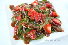 The Garden Grazer: Strawberry Spinach Salad with Tomato Balsamic Vinaigrette