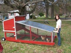 More ideas below: Easy Moveable Small Cheap Pallet chicken coop ideas Simple Large Recycled chicken coop diy Winter chicken coop Backyard designs Mobile chicken coop [. Chicken Coop On Wheels, Walk In Chicken Coop, Mobile Chicken Coop, Chicken Coop Pallets, Portable Chicken Coop, Best Chicken Coop, Chicken Tractors, Backyard Chicken Coops, Building A Chicken Coop