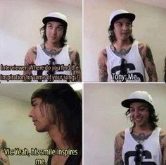 This makes me kinda sad. Because we all know that Tony struggled with severe depression. Maybe he did inspire some of the songs because Vic wanted him to get better. Tony's smile is one of the things that makes me happy. When he really smiles not for the camera, because he thought something was funny or cute. It makes my heart melt.