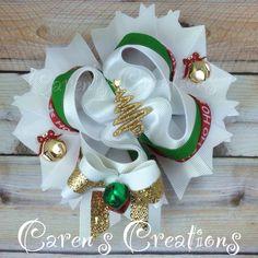 Classy Christmas stacked boutique bow, hair bow, Ho Ho Ho