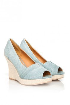 Talent Peep Toe Wedge in Blue Denim