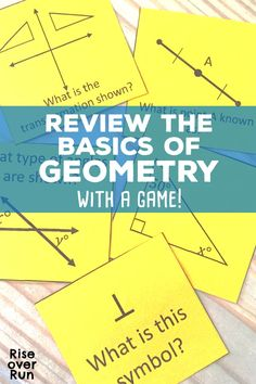 Geometry Review Game! This game covers the basics of high school geometry in the Quiz Quiz Trade format. Vocabulary and problems are included. Fun way to review concepts! Geometry Games, Geometry Vocabulary, Geometry Activities, Fun Math Activities, School Jobs, School Plan, School Stuff, School Ideas, Math Groups