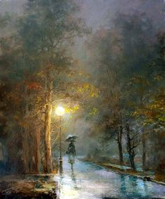 Love the light in this painting. [Autumn] By Wlodzimierz Czurawski, from Poland Landscape Art, Landscape Paintings, Rain Art, Umbrella Art, Painting Still Life, Beautiful Landscapes, Watercolor Paintings, Art Drawings, Contemporary Art