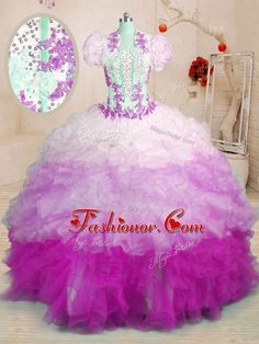 Eye-catching Sweetheart Sleeveless Organza Quinceanera Dress Beading and Appliques and Ruffles Brush Train Lace Up