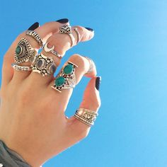 Statement rings in store now! www.shopdixi.com , shop dixi , statement rings , turquoise , moon , moonstone , sol solis , boho ,bohemian , hippie , crescent moon, gypsy , gypsy style