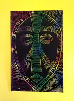 TeachKidsArt: African Masks with Scratch Art Paper- Line/Pattern/Repetition/Symmetrical Balance Kratz Kunst, African Art Projects, African Art For Kids, Classe D'art, 7th Grade Art, Creation Art, Scratch Art, Ecole Art, Art Africain