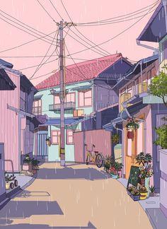 61 Super ideas for wallpaper anime art japan Japanese Aesthetic, Aesthetic Art, Aesthetic Anime, Aesthetic Drawing, Japon Illustration, House Illustration, Animes Wallpapers, Cute Wallpapers, Wallpaper Bonitos