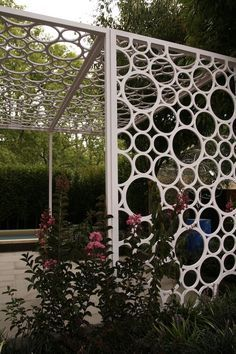 Screen made from PVC pipes - so committing to memory! #screen #upcycle #garden #design #earthdesigns