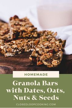 Homemade granola bars with dates oats nuts seeds and nut butter. This simple recipe will be your new go-to zero waste snack. Date Granola Bars, Healthy Granola Bars, Homemade Granola Bars, Vegan Granola, Diy Snacks, Healthy Snacks, Snack Recipes, Freezer Recipes, Freezer Cooking