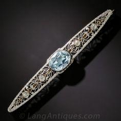 Edwardian Aquamarine and Diamond Bar Brooch