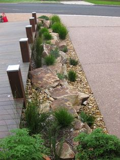 Dry Creek Beds-maybe something like this to separate the big paved area?, , Dry Creek Beds-maybe something like this to separate the big paved area? Small Backyard Landscaping, Landscaping With Rocks, Landscaping Ideas, Backyard Ideas, Garden Ideas, Mulch Landscaping, Landscaping Software, Desert Backyard, Inexpensive Landscaping