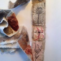 Fabric roll by Tina Jensen. Great cloth and threads' combination. Fabric Journals, Art Journals, Fabric Books, Book Pillow, Creative Textiles, Fibre And Fabric, Sewing Art, Hand Sewing, Fabric Pictures