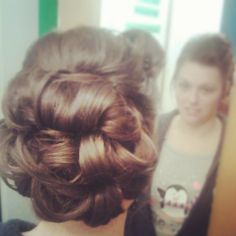 Overlapping pin curl bun. This isn't my hash tag but thought it was cute>>>#longhairdontcare