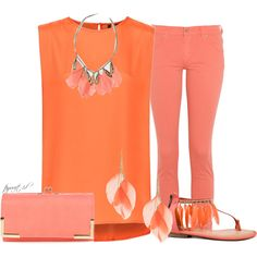 Orange and Coral Feathers, created by tayswift-1d on Polyvore