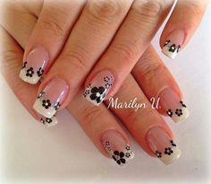 ☺uñas bonits Square Nail Designs, Simple Nail Art Designs, Nail Polish Designs, Daisy Nails, Flower Nails, Cute Toe Nails, Pretty Nails, Linda Nails, Nails Now
