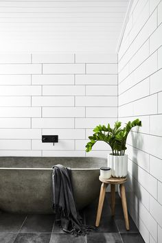 Adore Magazine & Farmhouse with Soul & Tile Bathroom with Concrete Bathtub & pinned by www.youngandmerri& Adore Magazine & Farmhouse with Soul & Tile Bathroom with Concrete Bathtub & pin& Source by The post Adore Magazine Minimal Bathroom, White Bathroom, Small Bathroom, Bathroom Tubs, Bath Tub, Hipster Bathroom, Earthy Bathroom, Bathroom Ideas, Ikea Bathroom