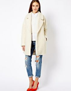RIVER ISLAND RELAXED FAUX FUR COAT