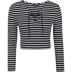 TOPSHOP PETITE Tie-Up Stripe Top ($35) ❤ liked on Polyvore featuring tops, long sleeves, petite, stripe, topshop, black, black long sleeve top, black top, eyelet top and lace up top