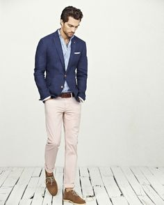 Shop this look — Navy Blazer — White and Blue Vertical Striped Longsleeve Shirt — Brown Suede Derby Shoes — Brown Leather Belt — A Hint of Pink Chinos — White Pocket Square. Mode Masculine, Casual Wedding Outfit Mens, Guys Wedding Outfits, Casual Groom Outfit, Relaxed Outfit, Blazer Bleu, Blazer Outfits Men, Costume En Lin, Men's Clothing