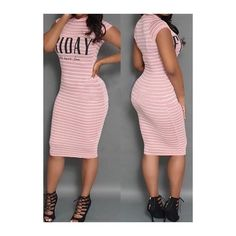 Rotita Pink Stripe Print Knee Length Dress ($19) ❤ liked on Polyvore featuring dresses, pink, sleeve dress, sheath dress, striped dress, pink sheath dress and short sleeve sheath dress