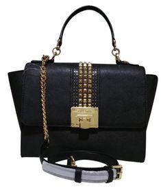 8136e00554d067 Michael Kors Saffiano Leather Tina Medium Satchel Bag in Black/silver for  sale online | eBay